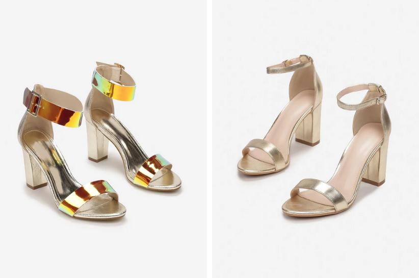 złote sandały stylizacje