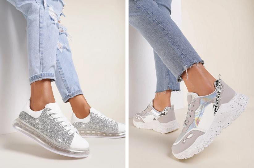 srebrne sneakersy stylizacje