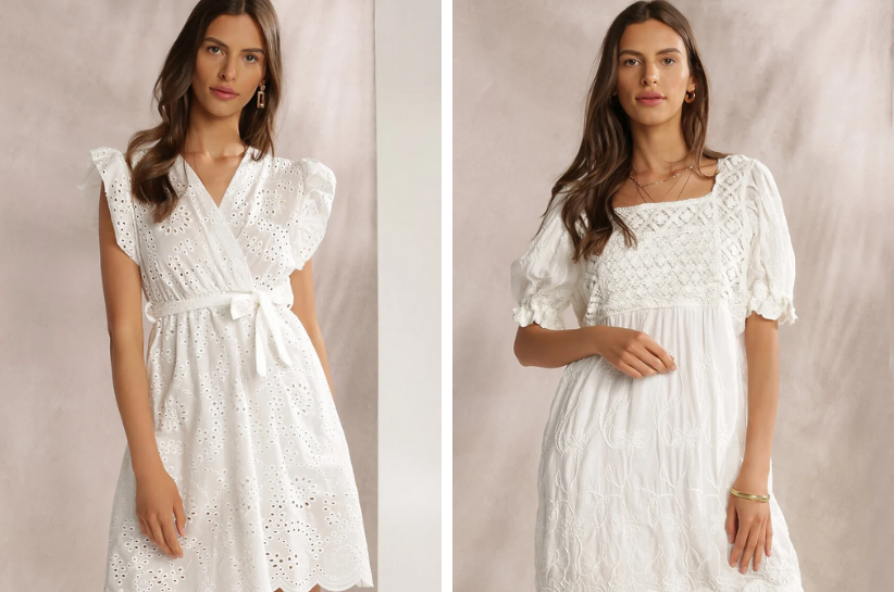 biała sukienka mini stylizacje